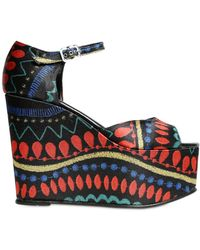 Massimo Lonardo - 120mm Printed Satin Platform Wedges - Lyst