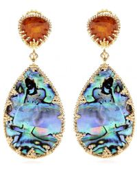Isharya - Abalone and Crystal Goldplated Earrings - Lyst