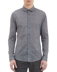 John Varvatos Blue Vineprint Shirt - Lyst