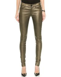 J Brand L624 Stacked Leather Skinny Pants - Gold Rush - Lyst
