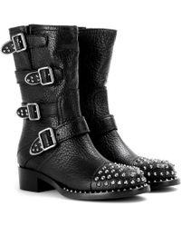 Miu Miu Studded Leather Biker Boots - Lyst