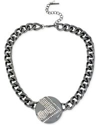 Steve Madden Hematite-tone Crystal Pavé Linked Collar Necklace - Lyst