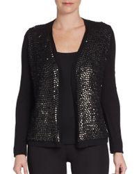 Elie Tahari Embellished Merino Wool Sweater - Lyst