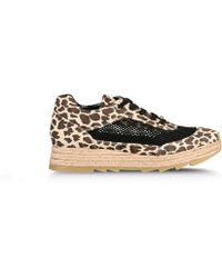 Stella McCartney Leopard Print Mesh Espadrille Sneakers animal - Lyst