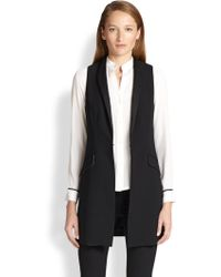 Alice + Olivia Long Satintrim Vest - Lyst
