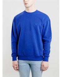 Topman Blue Oversized Soft Touch Sweatshirt - Lyst