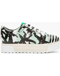 Kenzo Black and White Printed Leather Sneeky Platform Sneakers - Lyst