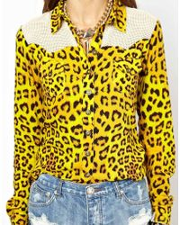 One Teaspoon Gambler Leopard Mesh Western Shirt - Lyst
