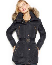 Michael Kors  Hooded Faux Fur Trim Down Puffer Coat - Lyst