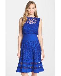 Tadashi Shoji Embroidered Lace Midi Dress blue - Lyst