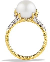 David Yurman Starburst Pearl Ring with Diamonds in Gold - Lyst