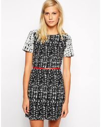 Oasis Mono Textured Dress - Lyst
