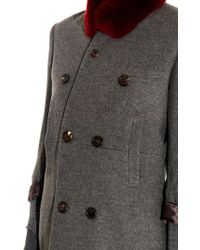 Undercover Fur-collar Wool-blend Coat - Lyst