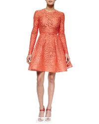 Elie Saab Long-Sleeve Belted Lace Fit-And-Flare Dress orange - Lyst