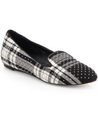 Alice + Olivia Drake Studded Plaid Canvas Smoking Slippers - Lyst
