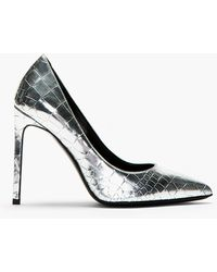 Saint Laurent Silver Crocembossed Paris Pumps - Lyst