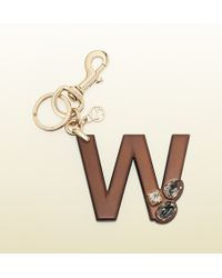 Gucci W Leather Charm With Swarovski Crystals - Lyst