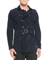Burberry Prorsum - Suede Trench Coat - Lyst