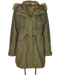 Topshop Faux Fur Trimmed Parka Jacket  Khaki - Lyst