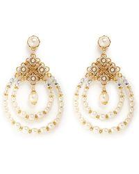 Miriam Haskell Baroque Pearl Teardrop Hoop Earrings white - Lyst
