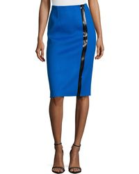 Michael Kors Double-faced Zip-front Pencil Skirt - Lyst
