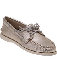 Sperry Top-Sider Authentic Original 2 Eye Platinum Metallic Leather - Lyst