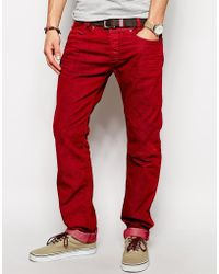 Diesel Jeans Iakop 830H Slim Tapered Red Overdye - Lyst