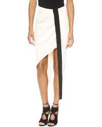 Haute Hippie Asymmetrical Skirt with Tux Stripe Ant Ivoireblack - Lyst