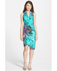 Nicole Miller Floral Print Silk Asymmetrical Faux Wrap Dress blue - Lyst