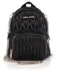 Miu Miu | Mini Matelasse Leather Crossbody Backpack | Lyst