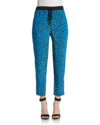 Elizabeth And James Suri Printed Silk Track Pants - Lyst