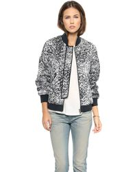 Rebecca Taylor White Noise Print Flight Jacket Blackwhite - Lyst