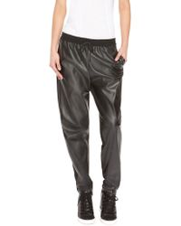 DKNY Faux Leather Front Sweatpant - Lyst