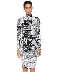 KTZ - Heraldy Body Con Dress - Grey Multi - Lyst