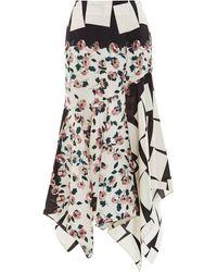 Suno Floral Cubes Asymmetrical Hem Pencil Skirt - Lyst
