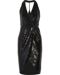 Halston Heritage Satintrimmed Sequined Wrap Dress - Lyst