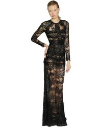 Elie Saab Cotton Blend Lace Dress With - Lyst