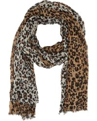 Barneys New York Leopardprint Wool Scarf - Lyst