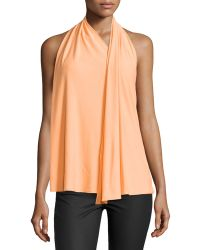 Halston Heritage Draped Scarf Halter Top - Lyst