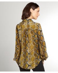 Fifteen Twenty - Olive Green Snake Printed Silk Button Front Blouse - Lyst