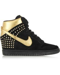 Nike   Dunk Sky Hi Suede and Metallic Leather Wedge Trainers   Lyst