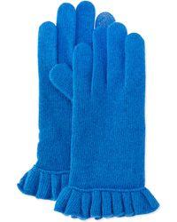Portolano Cashmere-Blend Ruffle Tech Gloves blue - Lyst