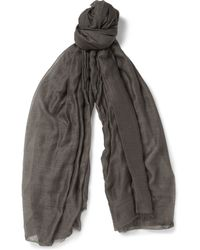 Rick Owens Cotton Cashmere and Silk-blend Scarf - Lyst