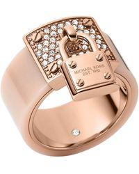 Michael Kors Rose Goldtone Blush Padlock Ring - Lyst