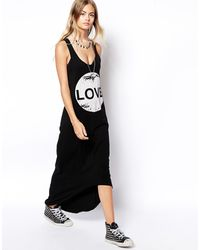 Asos Love Maxi Dress with Dipped Hem - Lyst