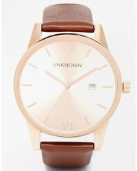 Unknown - Rose Gold Dandy Leather Strap Watch - Lyst