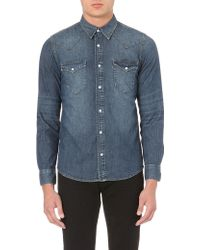 Sandro Western Denim Shirt Vintage Blue Denim - Lyst