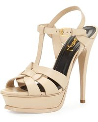 Saint Laurent Tribute Leather Platform Sandal - Lyst