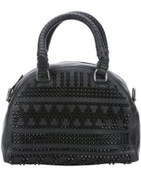 Christian Louboutin Black Calfskin Spiked Chevron Small 'Panettone' Satchel Bag - Lyst