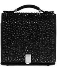 Rodo Crystal Front Mini Suede Square Satchel - Lyst